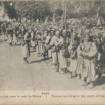 """""""1914. Turcos en marche vers le nord de Reims"""" (Marschierende Turcos nördlich von Reims). Carte Postale, gelaufen im Dezember 1914 innerhalb Frankreichs. Sammlung Detlev Brum."""