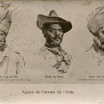 """Types de l'armée de l'Inde"" (Menschentypen von der Indischen Armee). Carte Postale, ungelaufen, ohne Datum. Sammlung Markus Kreis. Links: Sepoy Harnam Singh, vermutlich 15th Ludhiana Sikhs, Died on 3 April 1915, Age Unknown, Meerut Military Cementery, St. Martin-Les-Boulogne."