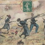 """Une Charge de Turcos. Un contre vingt!"" (Ein Trupp von Turcos. Einer gegen zwanzig). Serie humoristique de la Guerre 1914-18. Carte Postale, gelaufen im Dezember 1914. Sammlung Detlev Brum."