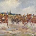 """""""Auffahrt türkischer Artillerie"""". Künstler-Kriegspostkarte Serie 12702-25, Prag, 1914, ungelaufen. Sammlung Detlev Brum."""