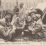 """Campement Indien – Coin rustique"". Guerre Européenne 1914. Carte Postale, beschriftet, ohne Datum. Sammlung Detlev Brum."