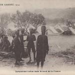 """""""Croquis de Guerre 1914. Campement Indien dans le nord de la France"""". Carte Postale, ungelaufen. Sammlung Detlev Brum."""