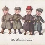 """""""Die Bundesgenossen"""". Ansichtskarte, ohne Verlagsangaben, gelaufen als Feldpost (Datum unleserlich) vom Pionier Btl. Nr. 19, 4. Komp., nach Berlin. Sammlung Detlev Brum."""