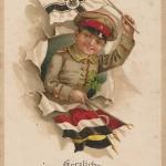 """""""Herzlichen Glückwunsch zum Geburtstage"""". Ansichtskarte, ohne Verlagsangaben. Glückwünsche zum Geburtstag an die 11-jährige Schwester. Gesendet aus Neuhammer/ Queis, 21.09.1916. Sammlung Detlev Brum."""