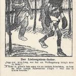 """""""Der Liebesgaben-Inder"""". Zeichnung von Karl Arnold aus der Liller Kriegszeitung. Feldpostkarte, gelaufen im Juli 1915 von Frankreich nach Unna. Sammlung Detlev Brum. Ein Soldat aus Indien, dem nach der Gefangennahme im Kriegswinter 1914/15 Pulswärmer als """"Liebesgaben"""" überlassen wurden, weil er friert, aber auch, weil die deutschen Soldaten in Erwartung des nahen Sieges glauben, keine Pulswärmer mehr zu benötigen. Der Kriegsberichterstatter der Sozialdemokratischen Arbeiter-Zeitung Dortmund bei einem Besuch indischer Kriegsgefangener: """"Dachte der Inder vielleicht, wozu er in diesen Krieg geschleppt war? Dachte er, was er in diesem kalten nassen flämischen Lande sollte? Dachte er vielleicht an seine warme Heimat?"""" In Bild und Text verbergen sich von deutscher Seite sowohl Mitgefühl mit dem Los der kolonialen Soldaten als auch das Anzweifeln der (moralischen) Rechtmäßigkeit des Einsatzes kolonialer Truppen in Europa."""