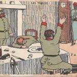 """""""Les Turcos! Pruscos! Y a bon, Y a bon"""". Carte Postale (sign. Piflon), ungelaufen. Sammlung Detlev Brum. Eine Gruppe westafrikanischer Soldaten überrascht eine Gruppe - betrunkener? - deutscher Soldaten."""