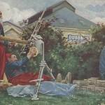 """""""Guerre 14/18 - Tir au Pigeon"""" (Tauben schießen). Dubonnet-Werbung. Nordafrikanische Zuaven bedienen - an der Front in Frankreich? - ein Maschinengewehr. Carte Postale, beschriftet im Juli 1915. Sammlung Detlev Brum."""
