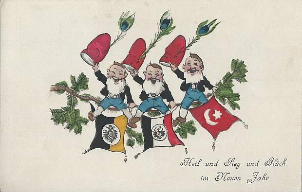 """""""Heil und Sieg und Glück im Neuen Jahr"""". Ansichtskarte, gelaufen im Dezember 1915. Sammlung Detlev Brum."""