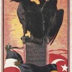 """""""Drei Adler und Drei Fahnen Geh'n uns're Siegesbahnen"""". Ansichtskarte, sign. Maxim Trübe, beschriftet, Datum unleserlich. Sammlung Detlev Brum."""