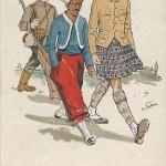 """""""Verbündete unter sich"""". Ansichtskarte, sign. W. Dietrich. Wenau-Postkarte Patentamtl. Gesch., Nr. 295. Stempelabdruck """"K. k. Landw. Info. Regt. Nr. 28"""". Gelaufen und beschriftet (in tschechischer Sprache) am 05.11.1916 nach Sepekov (Tschechien). Sammlung Detlev Brum."""
