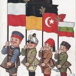 """""""Wir vier Brüder müssen siegen, Alle werden Keile kriegen!"""". Ansichtskarte, beschriftet im Juni 1916 (Feldpost). Sammlung Detlev Brum."""