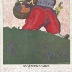 """""""Der kühne Räuber"""". Feldpostkarte (Günther Wagner, Hannover und Wien. """"Pelikan Tinte, Schreibbänder, Kohlenpapier""""), sign. W. Beckstein, gelaufen als Feldpost im Dezember 1915 von """"Kgl. Preuss. Strassenbau-Kompagnie Nr. 13"""" nach """"Pionier Einsatz Bataillon Nr. 18"""". Sammlung Detlev Brum. Pelikan-Tinte wurde von der Fa. Wagner bereits vor Beginn des 1. Weltkriegs weltweit verkauft. Zu Beginn des 1. Weltkriegs gibt das Unternehmen eine Werbe-Ansichtskarte heraus, auf der ein rassistisch überzeichneter muslimisch nord- bzw. westafrikanischer Soldat Pelikan-Tinte """"raubt"""". Die zur französischen Landesverteidigung eingesetzten afrikanischen Soldaten werden zu Aggressoren umdefiniert - ein Beispiel aus dem Lehrbuch der Kriegspropaganda."""