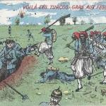"""""""Voilà les Turcos: Gare aux Fesses!!!"""" Carte Postale, beschriftet in französischer Sprache, ohne Datum. Sammlung Detlev Brum."""